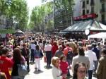 Las Ramblas de Barcelone envahies par les touristes